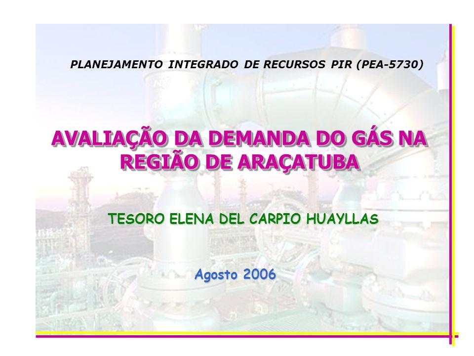 AVALIAÇÃO DA DEMANDA DO GÁS NA REGIÃO DE ARAÇATUBA TESORO ELENA DEL CARPIO HUAYLLAS Agosto 2006 PLANEJAMENTO INTEGRADO DE RECURSOS PIR (PEA-5730)