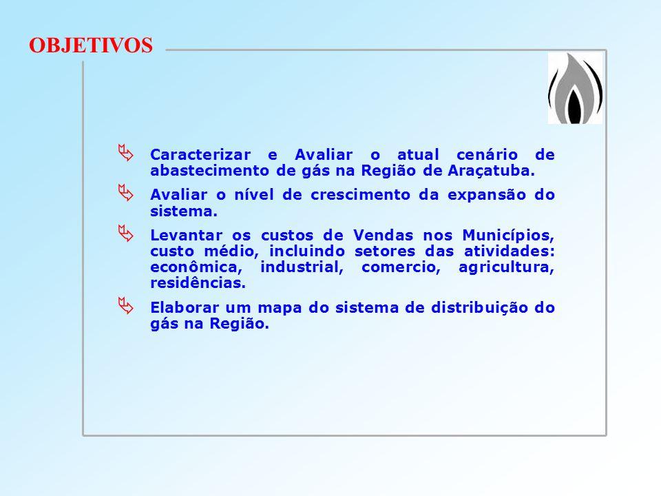 OBJETIVOS Caracterizar e Avaliar o atual cenário de abastecimento de gás na Região de Araçatuba. Avaliar o nível de crescimento da expansão do sistema