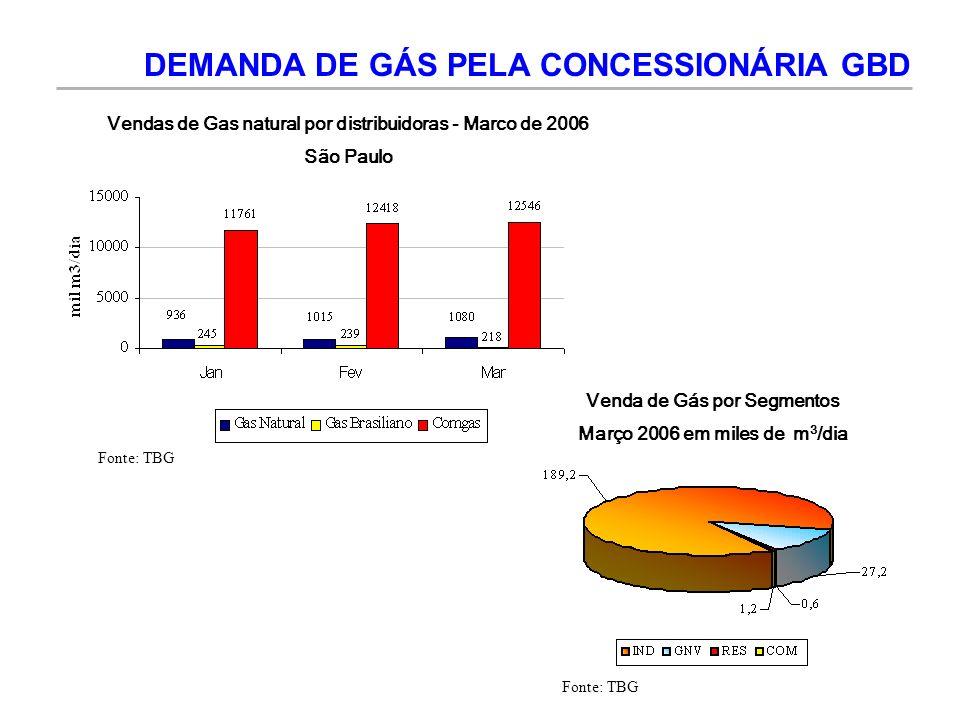 Vendas de Gas natural por distribuidoras - Marco de 2006 São Paulo Venda de Gás por Segmentos Março 2006 em miles de m 3 /dia DEMANDA DE GÁS PELA CONC