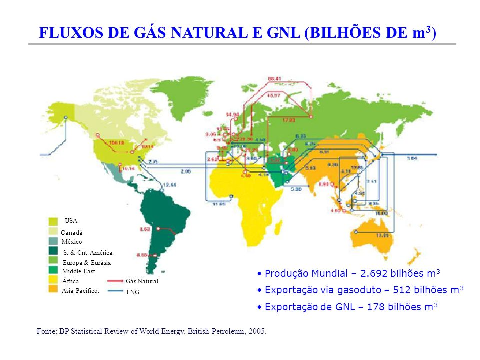 RESERVAS DE GÁS NATURAL EM AMÉRICA DO SUL Fonte: BP Statistical Review of World Energy.