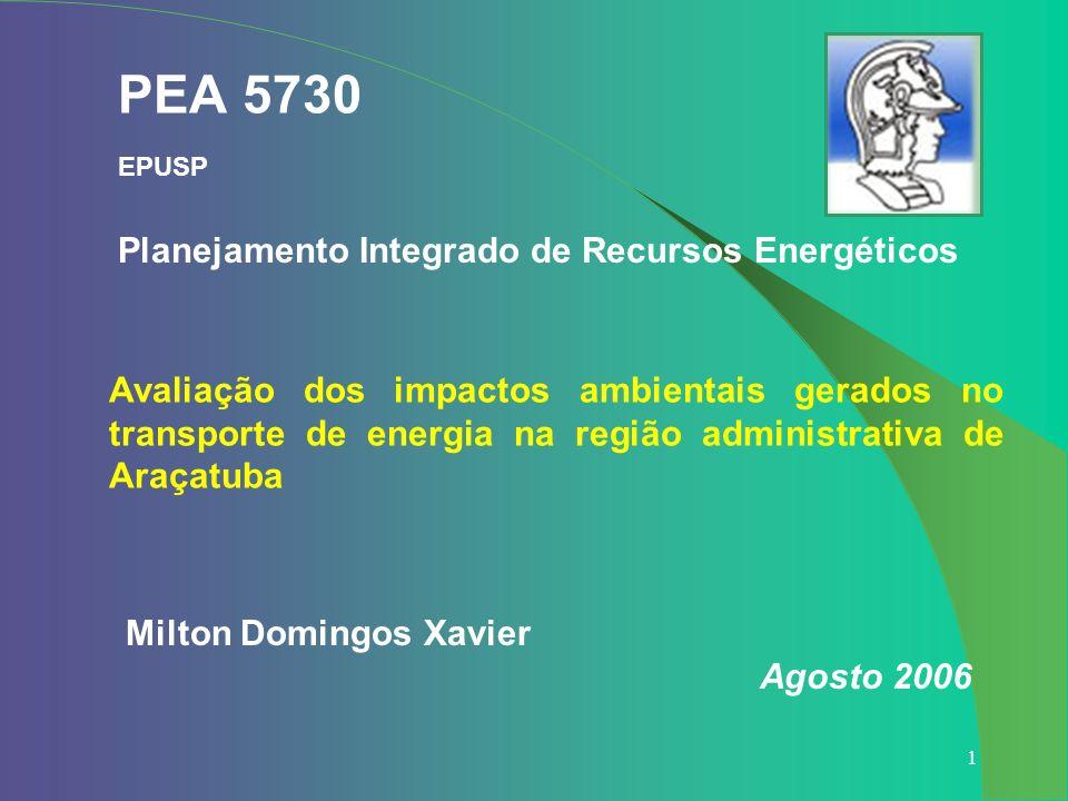 1 PEA 5730 EPUSP Milton Domingos Xavier Agosto 2006 Planejamento Integrado de Recursos Energéticos Avaliação dos impactos ambientais gerados no transp