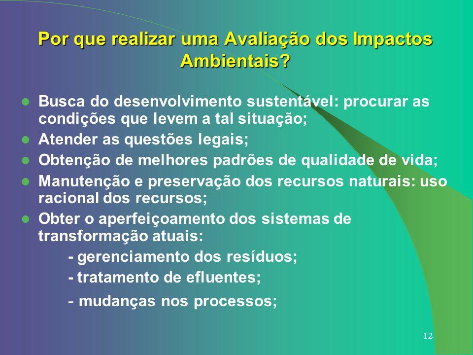 12 Por que realizar uma Avaliação dos Impactos Ambientais? Busca do desenvolvimento sustentável: procurar as condições que levem a tal situação; Atend