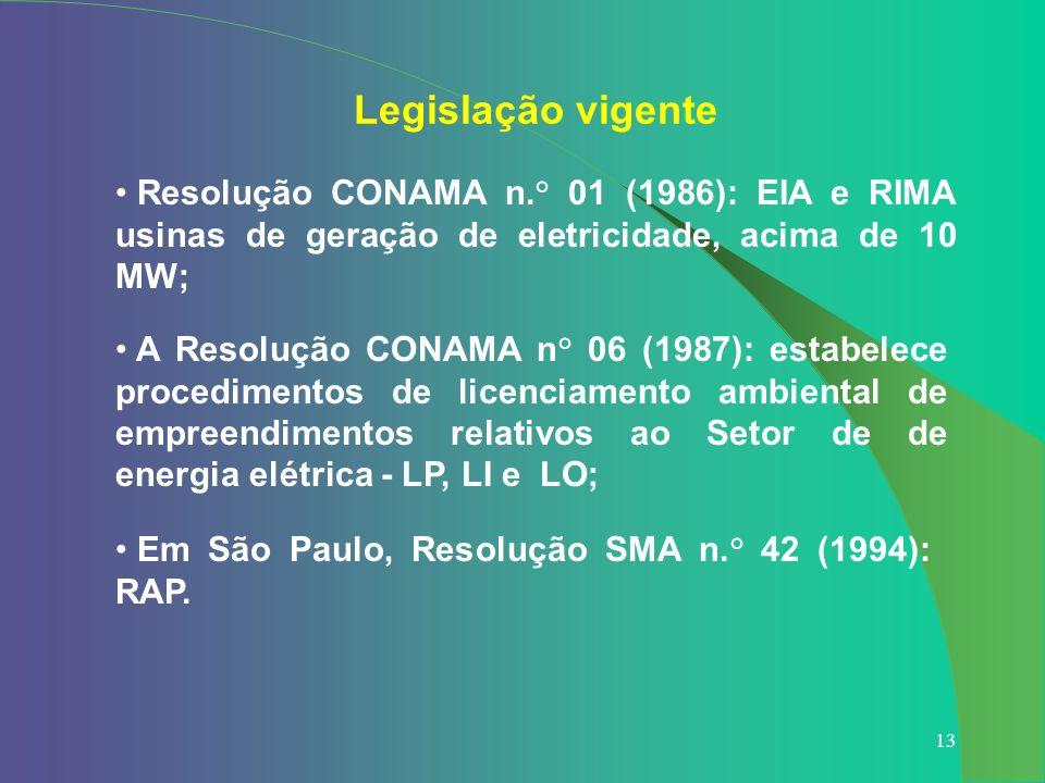 13 Legislação vigente Resolução CONAMA n.° 01 (1986): EIA e RIMA usinas de geração de eletricidade, acima de 10 MW; A Resolução CONAMA n° 06 (1987): e