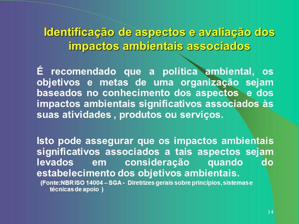 14 Identificação de aspectos e avaliação dos impactos ambientais associados É recomendado que a política ambiental, os objetivos e metas de uma organi