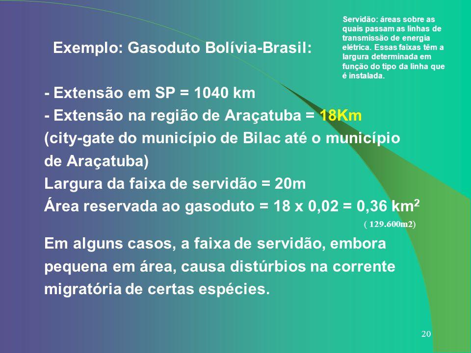 20 Exemplo: Gasoduto Bolívia-Brasil: - Extensão em SP = 1040 km - Extensão na região de Araçatuba = 18Km (city-gate do município de Bilac até o municí