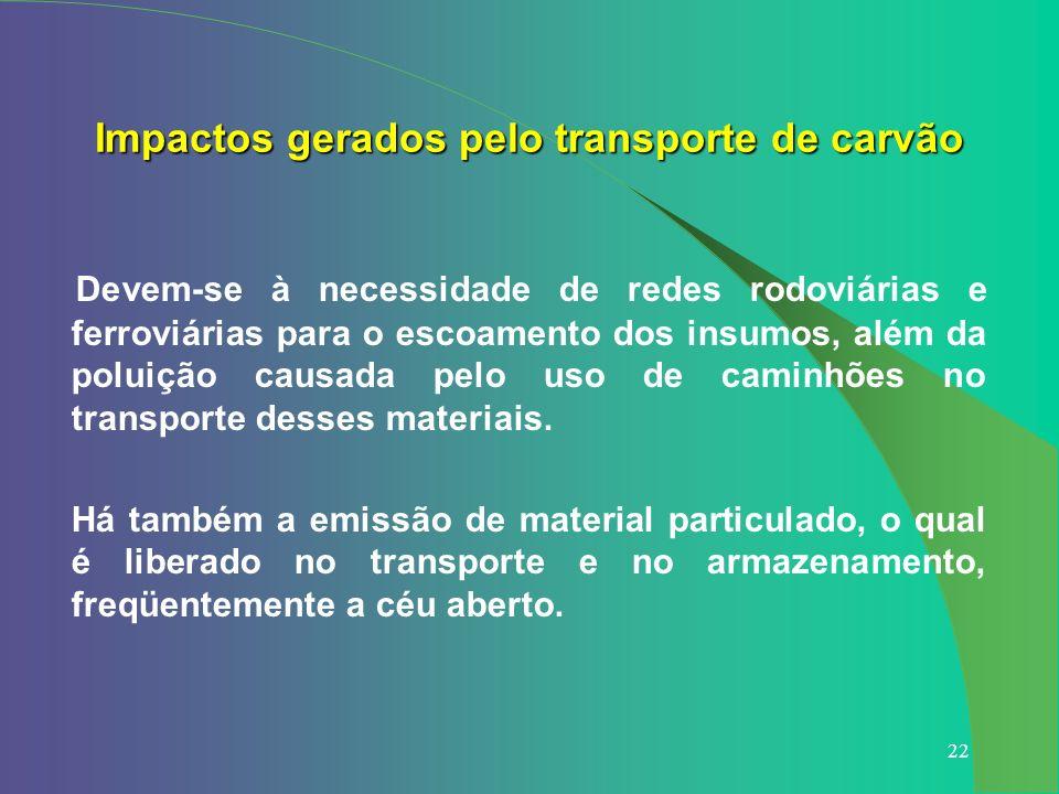 22 Devem-se à necessidade de redes rodoviárias e ferroviárias para o escoamento dos insumos, além da poluição causada pelo uso de caminhões no transpo