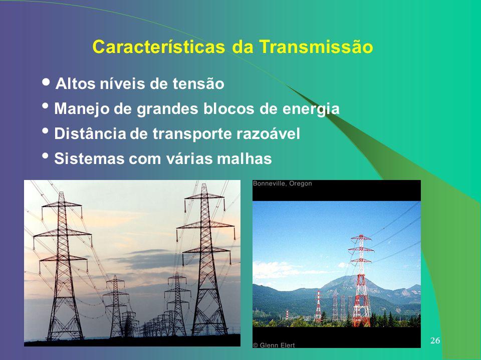 26 Altos níveis de tensão Manejo de grandes blocos de energia Distância de transporte razoável Sistemas com várias malhas Características da Transmiss