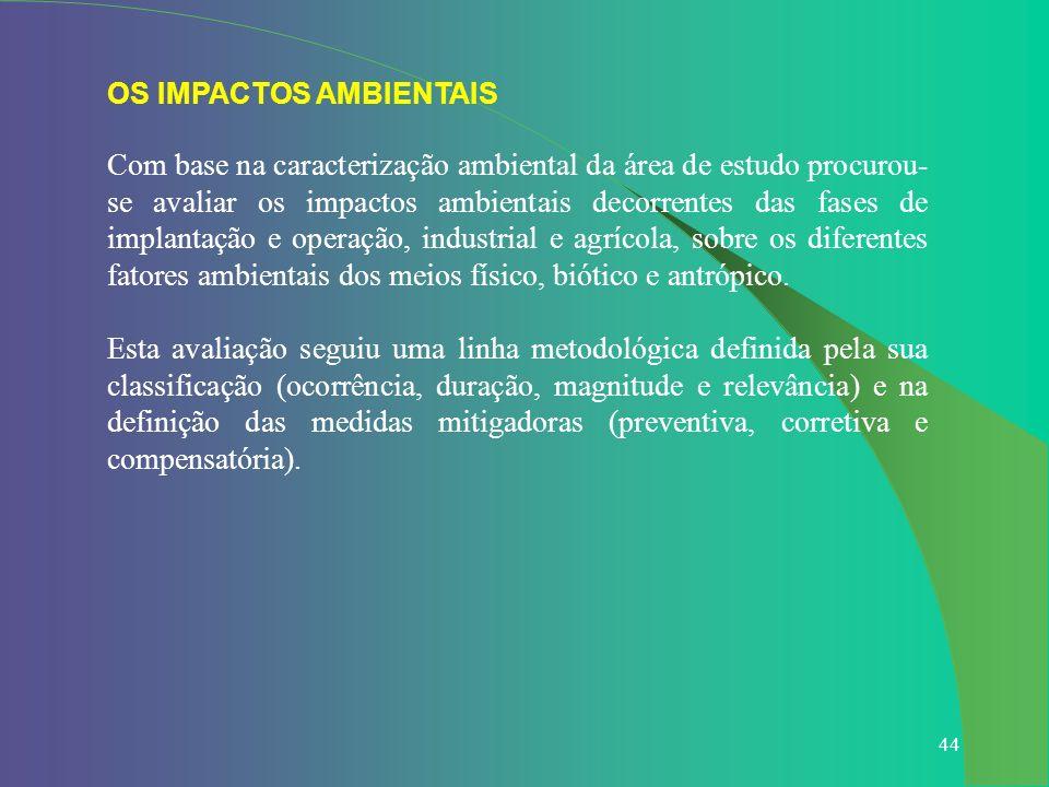 44 OS IMPACTOS AMBIENTAIS Com base na caracterização ambiental da área de estudo procurou- se avaliar os impactos ambientais decorrentes das fases de