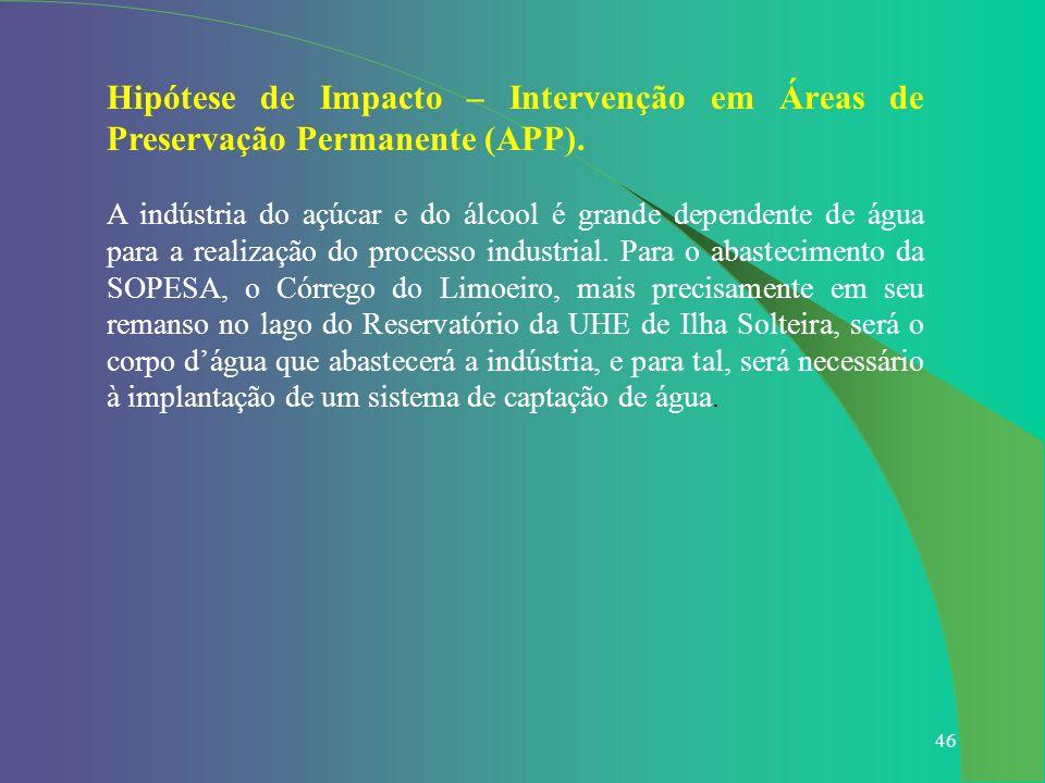 46 Hipótese de Impacto – Intervenção em Áreas de Preservação Permanente (APP). A indústria do açúcar e do álcool é grande dependente de água para a re