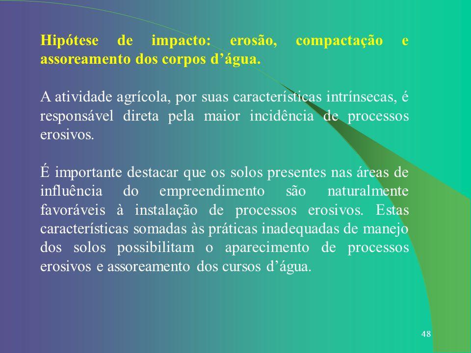 48 Hipótese de impacto: erosão, compactação e assoreamento dos corpos dágua. A atividade agrícola, por suas características intrínsecas, é responsável