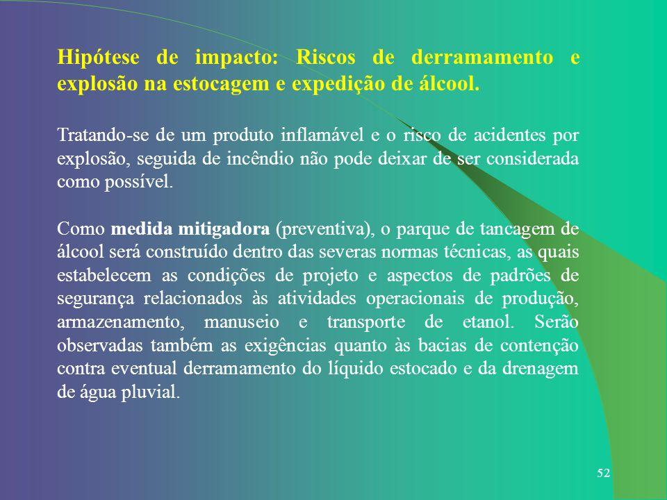 52 Hipótese de impacto: Riscos de derramamento e explosão na estocagem e expedição de álcool. Tratando-se de um produto inflamável e o risco de aciden