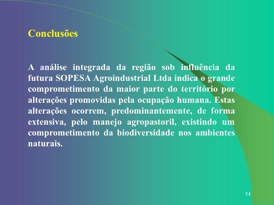 54 Conclusões A análise integrada da região sob influência da futura SOPESA Agroindustrial Ltda indica o grande comprometimento da maior parte do terr