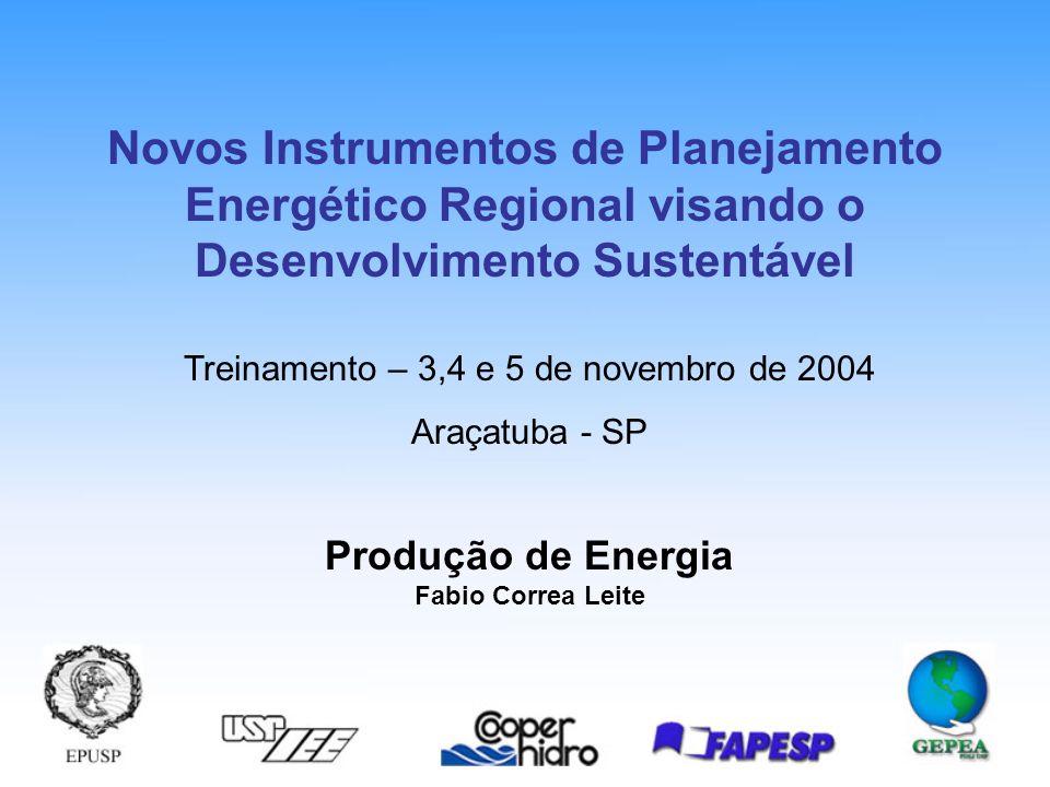 Produção de Energia Fabio Correa Leite Treinamento – 3,4 e 5 de novembro de 2004 Araçatuba - SP Novos Instrumentos de Planejamento Energético Regional visando o Desenvolvimento Sustentável