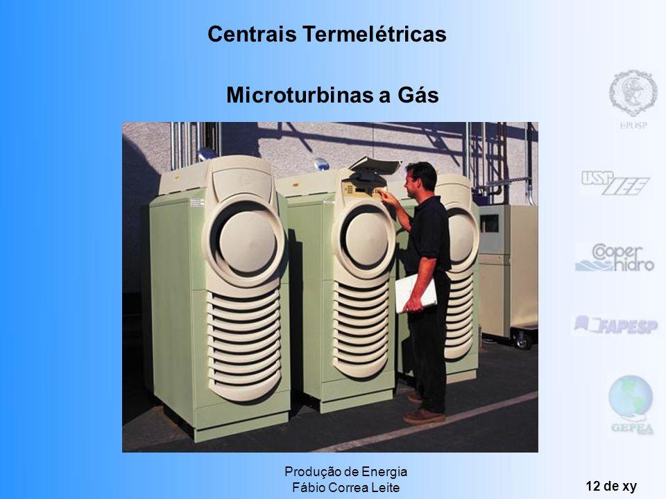 Produção de Energia Fábio Correa Leite 11 de xy Microturbinas a Gás Alta versatilidade e rápida implantação (quase imediata) Alta confiabilidade Baixa