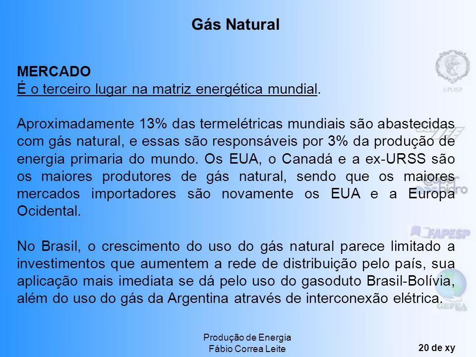Produção de Energia Fábio Correa Leite 19 de xy Segundo lugar na matriz energética mundial, devido principalmente ao seu baixo custo. Os principais me