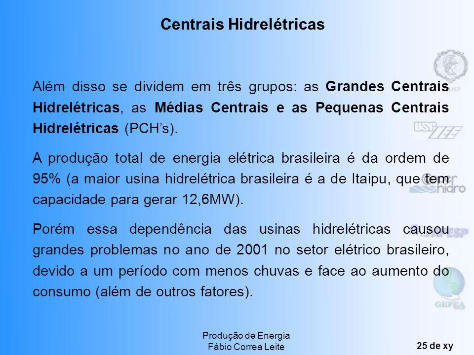 Produção de Energia Fábio Correa Leite 24 de xy As centrais hidrelétricas podem ser classificadas em: Centrais a fio dágua: capacidade de armazenament