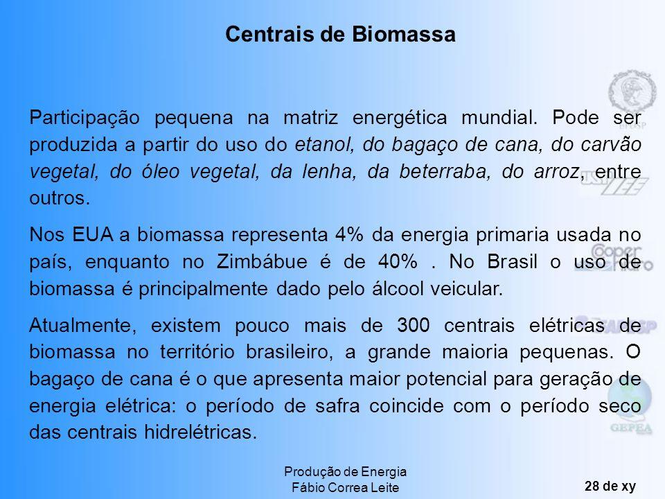 Produção de Energia Fábio Correa Leite 27 de xy Principais hidrelétricas brasileiras e a produção total do país. Centrais Hidrelétricas 18 Bi US$ em d