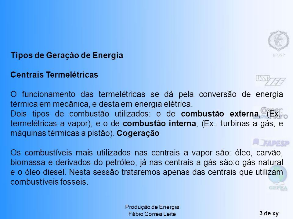 Produção de Energia Fábio Correa Leite 3 de xy Tipos de Geração de Energia Centrais Termelétricas O funcionamento das termelétricas se dá pela conversão de energia térmica em mecânica, e desta em energia elétrica.
