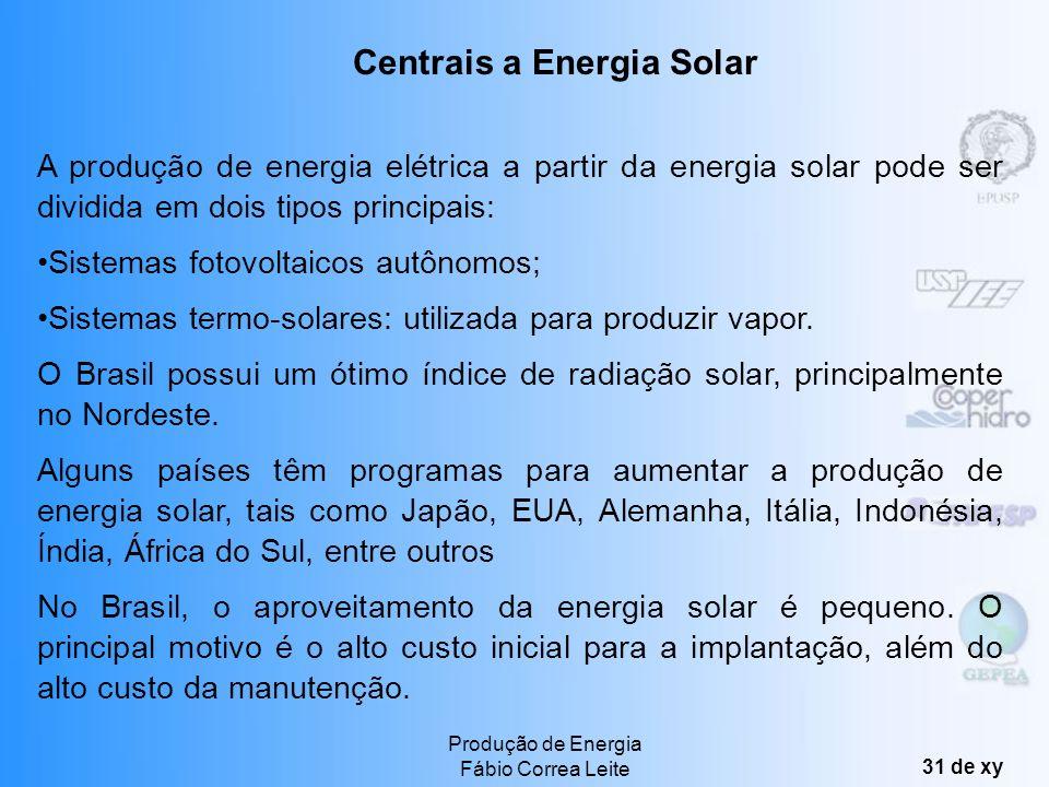 Produção de Energia Fábio Correa Leite 30 de xy Grande safra agrícola permite o uso de resíduos para a geração distribuída. A tecnologia já é matura,