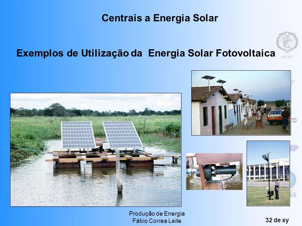 Produção de Energia Fábio Correa Leite 31 de xy A produção de energia elétrica a partir da energia solar pode ser dividida em dois tipos principais: S