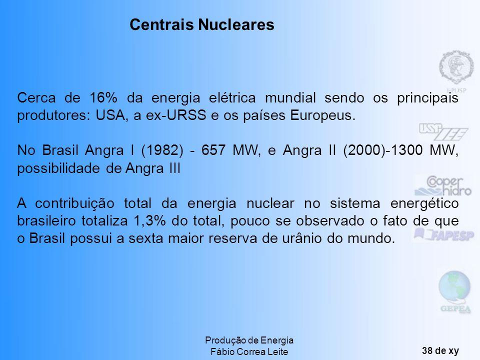 Produção de Energia Fábio Correa Leite 37 de xy Exemplos de Utilização da Energia Eólica Centrais Eólicas