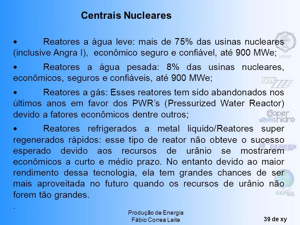 Produção de Energia Fábio Correa Leite 38 de xy Cerca de 16% da energia elétrica mundial sendo os principais produtores: USA, a ex-URSS e os países Eu