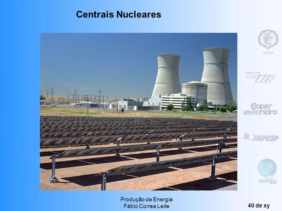 Produção de Energia Fábio Correa Leite 39 de xy Reatores a água leve: mais de 75% das usinas nucleares (inclusive Angra I), econômico seguro e confiáv