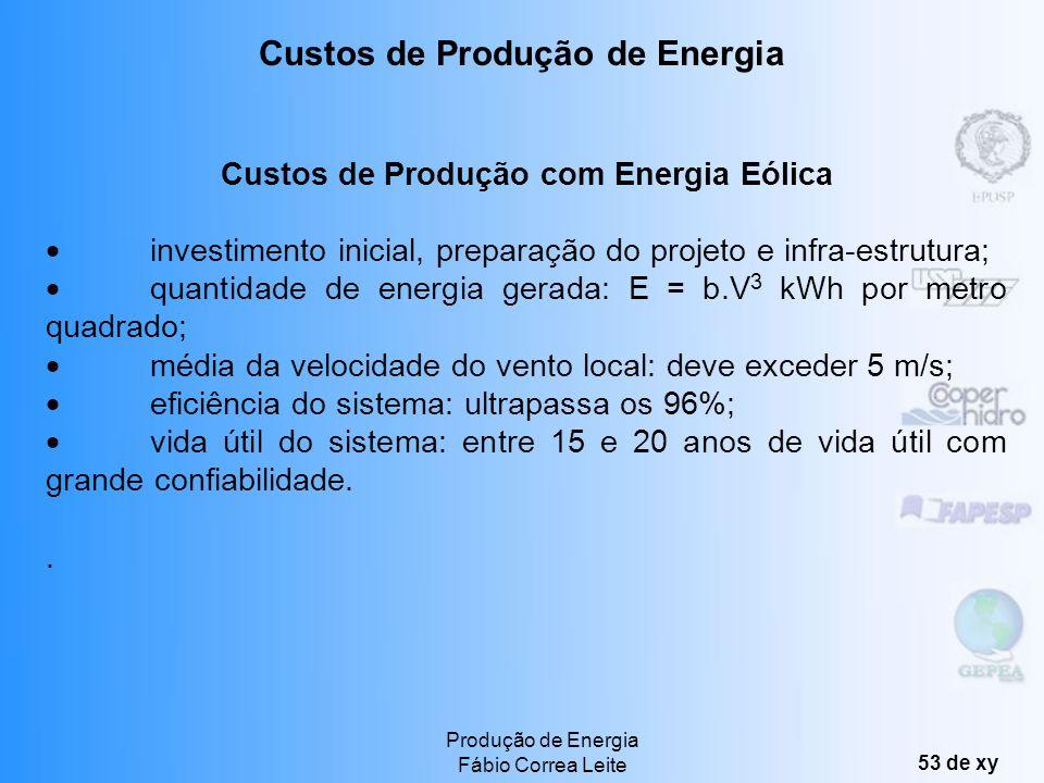 Produção de Energia Fábio Correa Leite 52 de xy Custos de Produção Custos de Produção com Biomassa Com preços de biomassa girando em torno de 2 US$ o