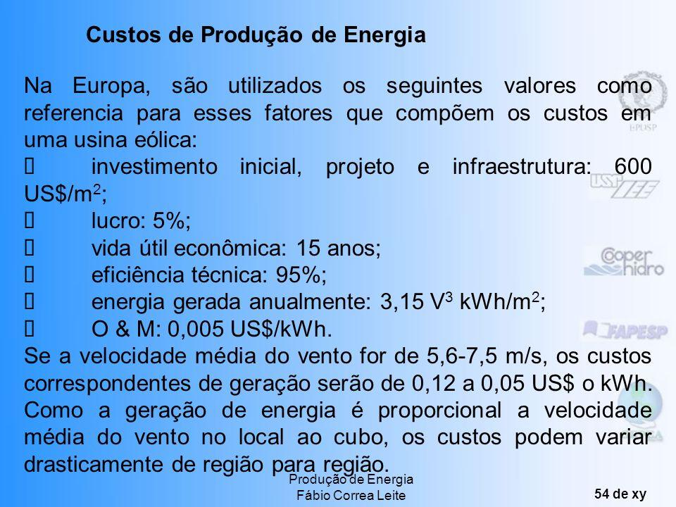 Produção de Energia Fábio Correa Leite 53 de xy Custos de Produção com Energia Eólica investimento inicial, preparação do projeto e infra-estrutura; q