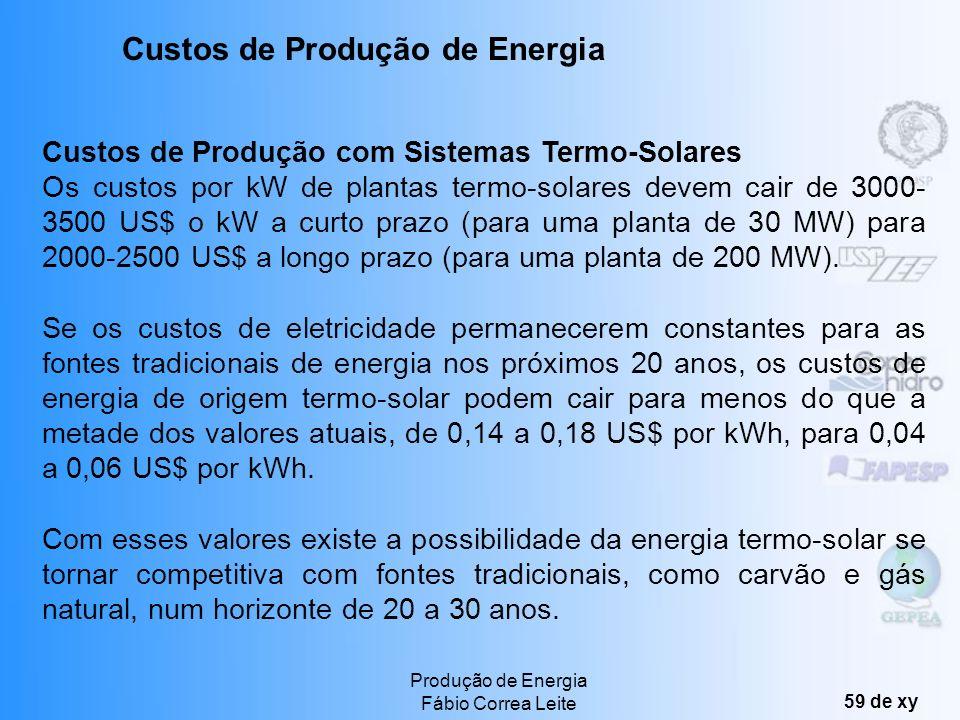 Produção de Energia Fábio Correa Leite 58 de xy Custo Total do Empreendimento (US$/kW) 6000- 10000 Custo da Energia gerada (US$/MWh) 500-1160 Fator de