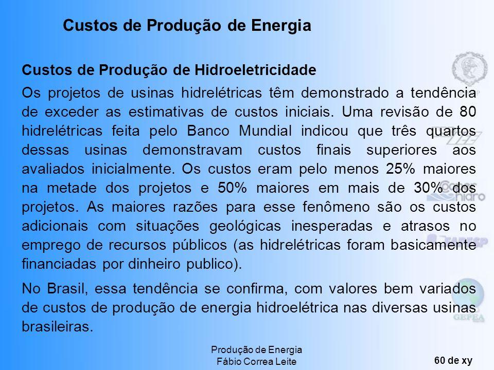 Produção de Energia Fábio Correa Leite 59 de xy Custos de Produção com Sistemas Termo-Solares Os custos por kW de plantas termo-solares devem cair de