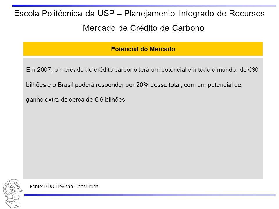 Escola Politécnica da USP – Planejamento Integrado de Recursos Potencial do Mercado Em 2007, o mercado de crédito carbono terá um potencial em todo o