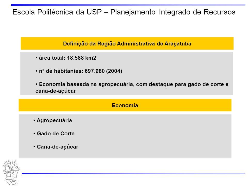 Escola Politécnica da USP – Planejamento Integrado de Recursos Definição da Região Administrativa de Araçatuba área total: 18.588 km2 nº de habitantes