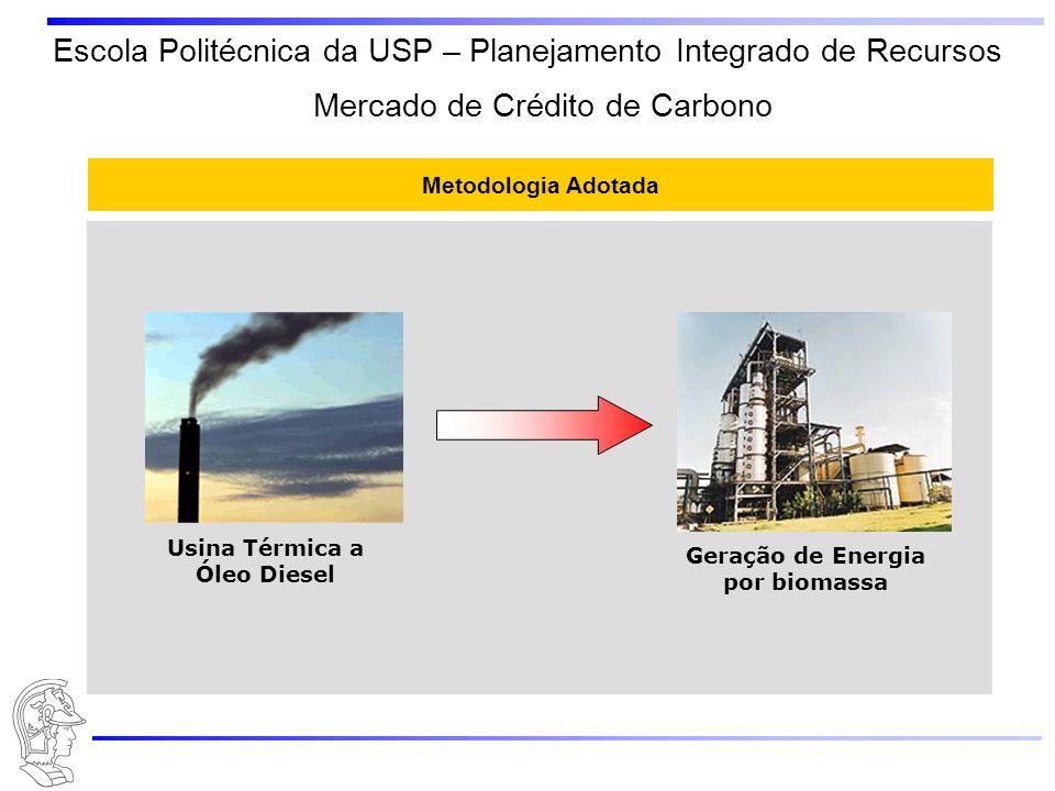 Escola Politécnica da USP – Planejamento Integrado de Recursos Metodologia Adotada Usina Térmica a Óleo Diesel Geração de Energia por biomassa Mercado