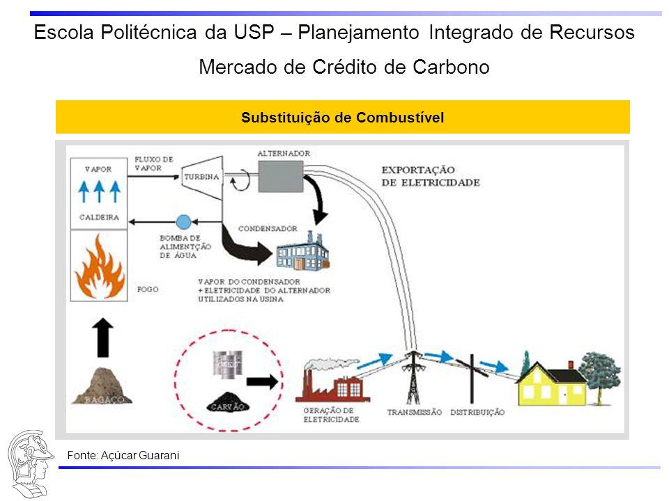 Escola Politécnica da USP – Planejamento Integrado de Recursos Substituição de Combustível Mercado de Crédito de Carbono Fonte: Açúcar Guarani