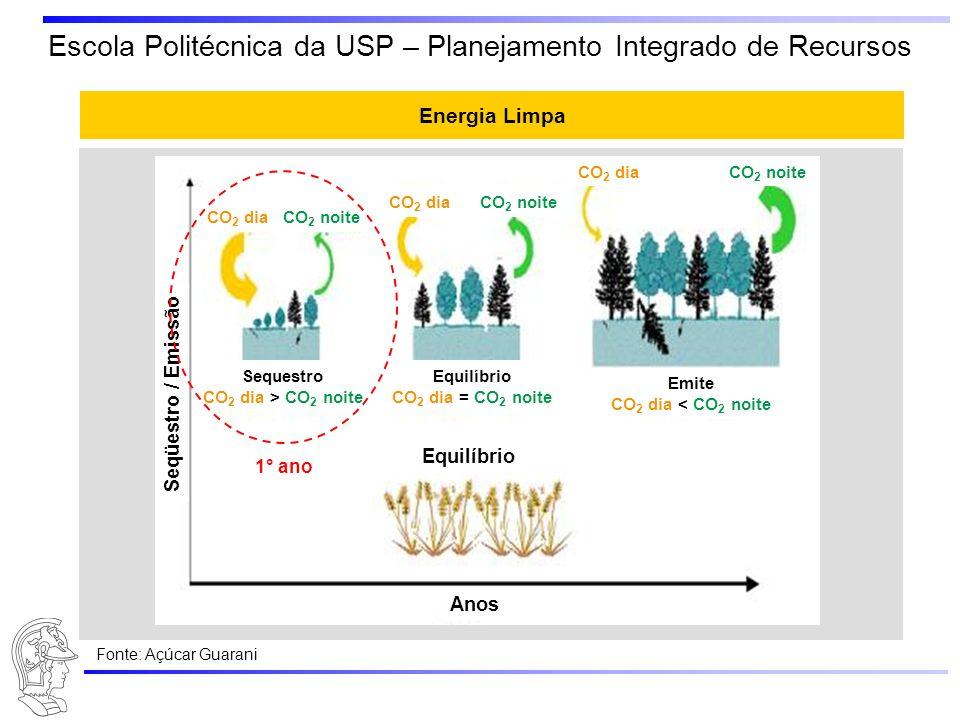 Escola Politécnica da USP – Planejamento Integrado de Recursos Energia Limpa Anos Seqüestro / Emissão Equilíbrio CO 2 dia = CO 2 noite Emite CO 2 dia