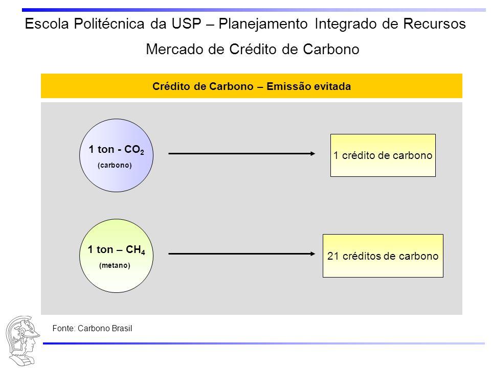 Escola Politécnica da USP – Planejamento Integrado de Recursos Crédito de Carbono – Emissão evitada 1 ton - CO 2 (carbono) 1 crédito de carbono 1 ton