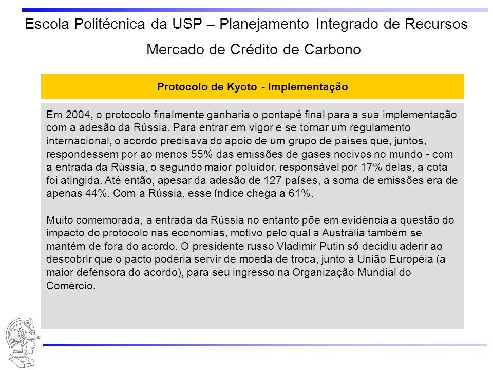 Escola Politécnica da USP – Planejamento Integrado de Recursos Protocolo de Kyoto - Implementação Em 2004, o protocolo finalmente ganharia o pontapé f