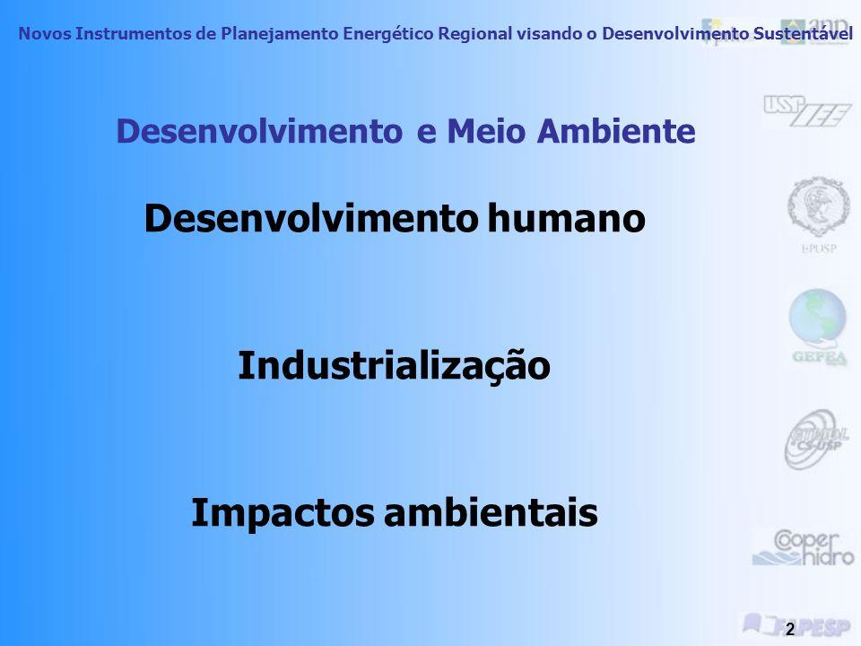 Novos Instrumentos de Planejamento Energético Regional visando o Desenvolvimento Sustentável 2 Desenvolvimento e Meio Ambiente Desenvolvimento humano Industrialização Impactos ambientais