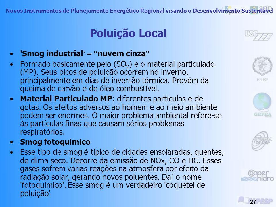 Novos Instrumentos de Planejamento Energético Regional visando o Desenvolvimento Sustentável 26 Poluição Urbana do Ar Principal fonte: queima de combu