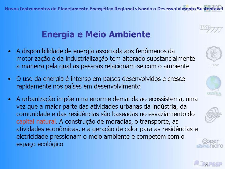 Novos Instrumentos de Planejamento Energético Regional visando o Desenvolvimento Sustentável 3 Energia e Meio Ambiente A disponibilidade de energia associada aos fenômenos da motorização e da industrialização tem alterado substancialmente a maneira pela qual as pessoas relacionam-se com o ambiente O uso da energia é intenso em países desenvolvidos e cresce rapidamente nos países em desenvolvimento A urbanização impõe uma enorme demanda ao ecossistema, uma vez que a maior parte das atividades urbanas da indústria, da comunidade e das residências são baseadas no esvaziamento do capital natural.