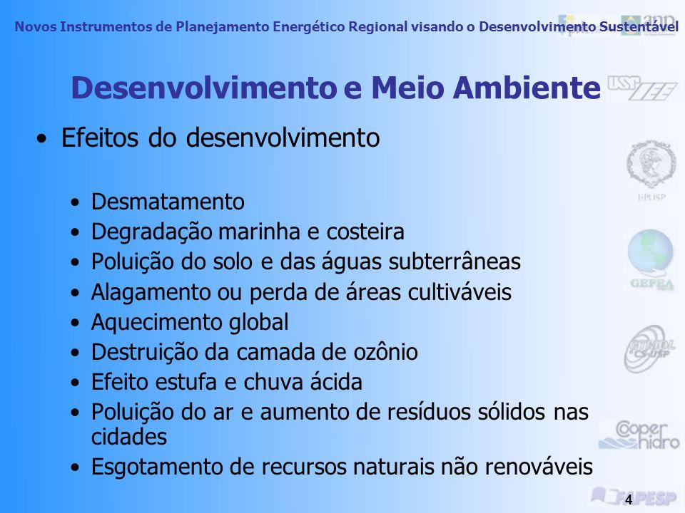 Novos Instrumentos de Planejamento Energético Regional visando o Desenvolvimento Sustentável 3 Energia e Meio Ambiente A disponibilidade de energia as
