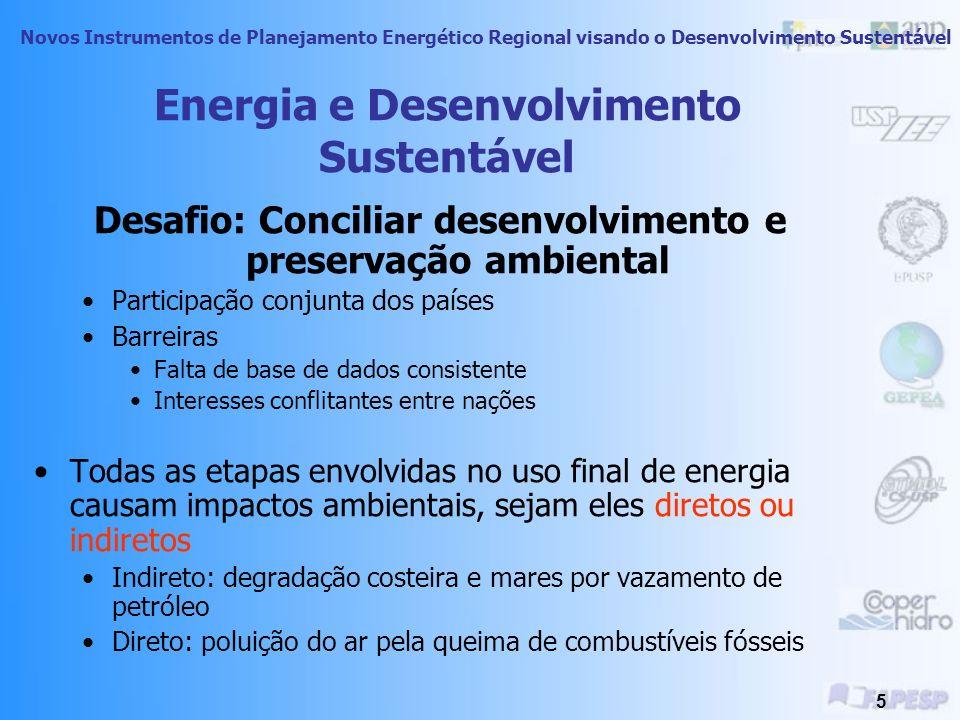 Novos Instrumentos de Planejamento Energético Regional visando o Desenvolvimento Sustentável 4 Desenvolvimento e Meio Ambiente Efeitos do desenvolvime