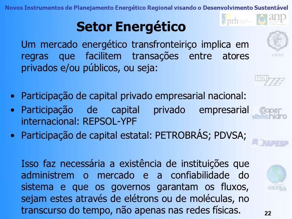 Novos Instrumentos de Planejamento Energético Regional visando o Desenvolvimento Sustentável 21 Integração Energética Essas interconexões, necessitam