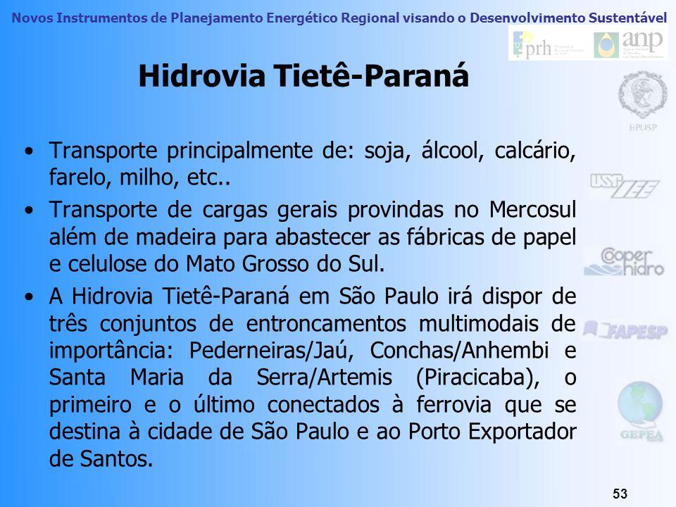 Novos Instrumentos de Planejamento Energético Regional visando o Desenvolvimento Sustentável Hidrovia Tietê-Paraná: A Hidrovia do Mercosul 52 Fonte: w