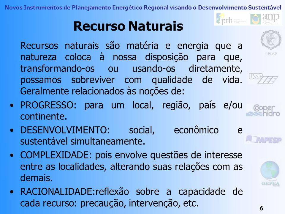 Novos Instrumentos de Planejamento Energético Regional visando o Desenvolvimento Sustentável Sistemas Naturais em Escala Global Todos os sistemas e su