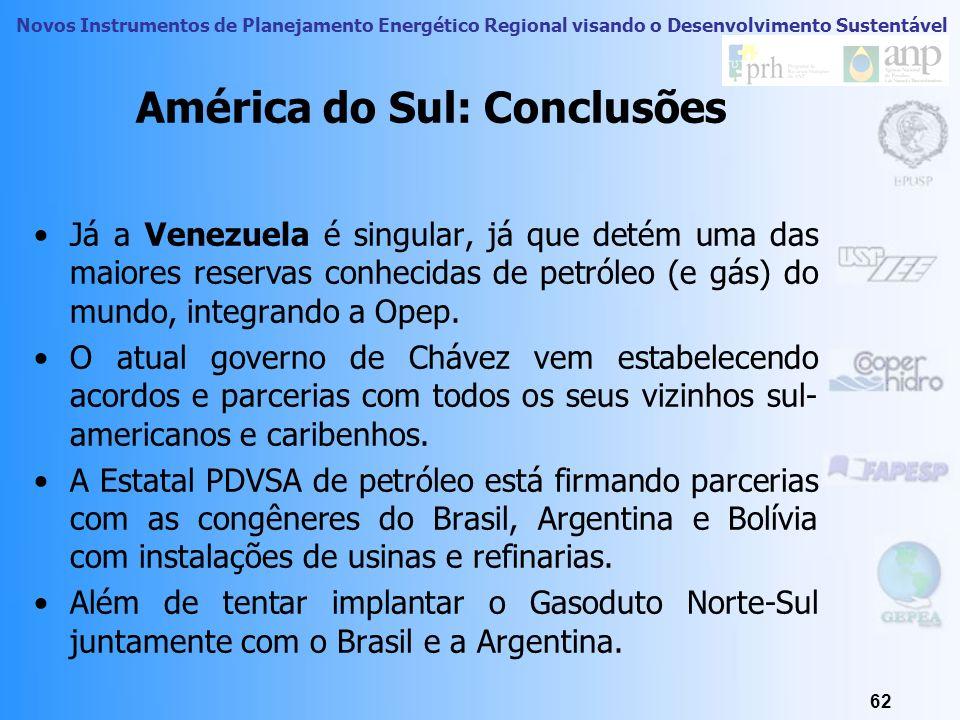 Novos Instrumentos de Planejamento Energético Regional visando o Desenvolvimento Sustentável 61 América do Sul: Conclusões No Perú, assinala-se o incr
