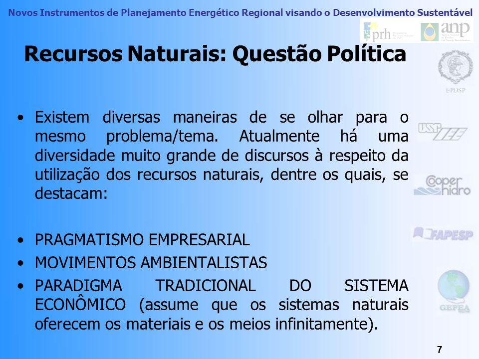 Novos Instrumentos de Planejamento Energético Regional visando o Desenvolvimento Sustentável 6 Recurso Naturais Recursos naturais são matéria e energi