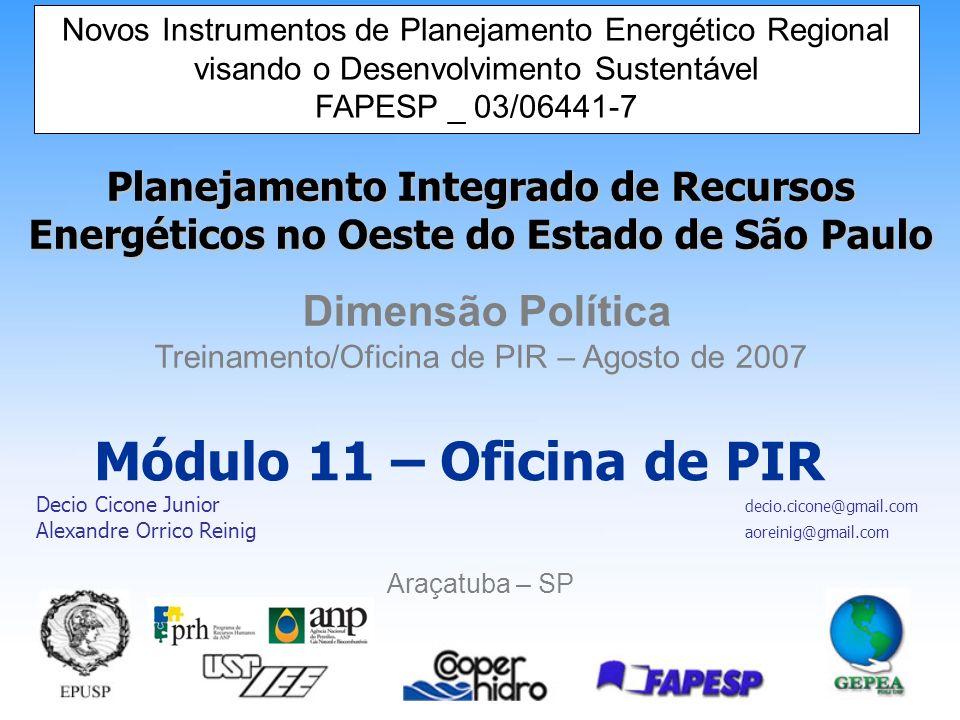Novos Instrumentos de Planejamento Energético Regional visando o Desenvolvimento Sustentável 22 A aplicação da ACC e AHP no PIR de Araçatuba Como exemplo prático da aplicação da ACC e do AHP,com auxílio do Software Decision Lens temos o PIR da Região Administrativa de Araçatuba.