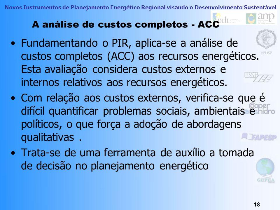 Novos Instrumentos de Planejamento Energético Regional visando o Desenvolvimento Sustentável 18 A análise de custos completos - ACC Fundamentando o PI